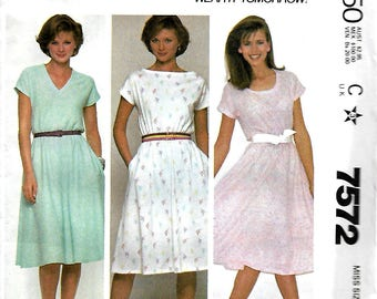 McCall's 7572 Make It Tonight Misses Knit Pullover Dress Pattern, Size 14-16 & 18-20, UNCUT