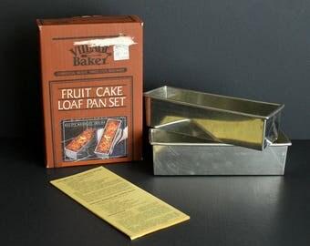Vintage Loaf Pan Set Village Baker Fruit Cake Pans Commercial Weight Bakeware Two Fruitcake Baking Pans