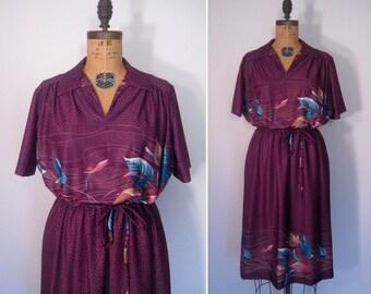 1970s purple flower print dress • 70s floral dot day dress • vintage run baby run dress