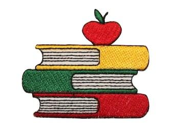 ID #0953B School Apple Books Class Teacher Embroidered Iron On Applique Patch