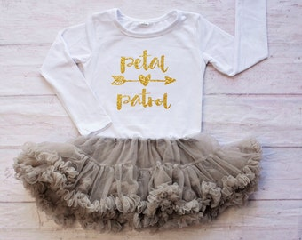 Petal Patrol Flower Girl Dress / Flower Girl Rehearsal Outfit / Gold Petal Patrol Top / Flower Girl Dress /