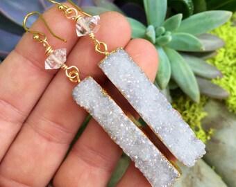 Angel aura & Herkimer Diamonds - Gold filled earrings
