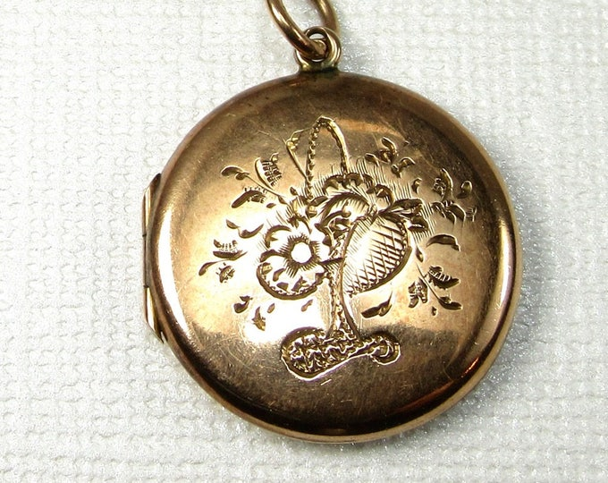 Gold Filled Round Locket with Floral Design, Flower and Bird Design Locket, Antique Locket, Locket, Gold Filled Locket, Round Locket