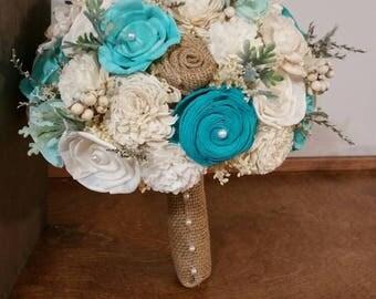 Wedding Bouquet, Sola wood Bouquet, Burlap Teal  Bouquet, Alternative bridal Bouquet, Mint Bouquet, Sola flowers, Wood Bouquet, Aqua bouquet