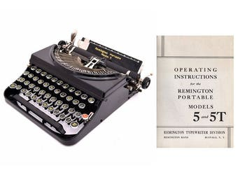 Remington Model 5 and 5T Typewriter Instruction Manual Instant Download
