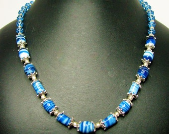 Blue Swirl Oval and Barrel Glass Beaded Necklace - Item 320