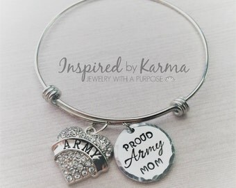 Proud Military Mom, Army Mom, Air Force Mom, Marine Mom, Personalized Bangle Bracelet, Military Jewelry, gifts under 25, personalized gifts