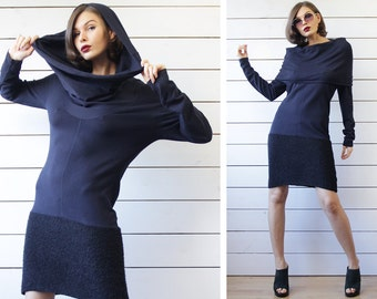 Vintage navy blue merino wool knit long sleeve large cowl collar sweater tunic midi dress L
