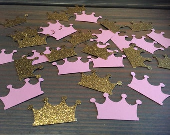 Princess gold glitter and pink crown paper punch confetti, table decor, birthday party, baby shower
