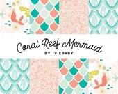 Coral Reef Mermaid Bedding. Baby Bedding. Mermaid Baby Bedding. Coral Mermaid Baby Bedding. Crib Sheet. Crib Skirt. Mermaid Nursery.