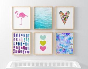 Flamingo Tropical Brights 6 Bundle Nursery Art. Nursery Wall Art. Nursery Prints. Nursery Decor. Flamingo Wall Art. Instant Download.