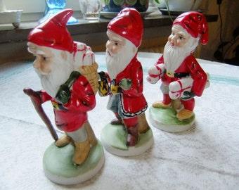 Vintage Christmas figurines - Tomtar - Gnomes - Set of three