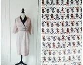 RESERVED for Lori/Poodle Parade 1950s Carl Naftal Cream/Brown/Black/Grey Poodle Novelty Print Dress
