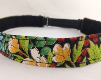 Adjustable non-slip Headband hairband made with vintage kimono silk - floral pattern