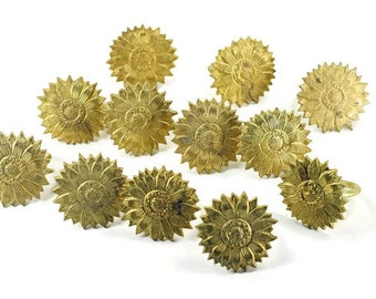 12 Vintage Sunflower Napkin Rings Gold Colored Metal