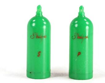 Vintage Green Skelgas Salt and Pepper Shakers
