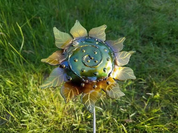 "Sunflower with swirl, outdoor garden stake, 18"" made to order"