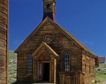 California Historical Bodie Ghost Town Deserted Church, Original Photograph, Fine Art Photography matted, signed 5x7 Original Photograph