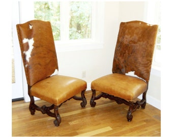 19th Century Rare Spanish Revival Renaissance Civil War Antique Cow Hide Leather Camelback Club Chairs Carved Tuscan Farmhouse Western Chair