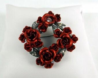 Spun Aluminum Roses Brooch