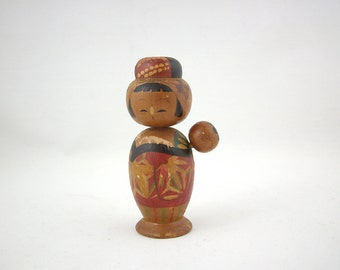 Vintage Kokeshi Doll with Baby, Asian Folk Art Figure Bobblehead, 1940s, Mother and Child