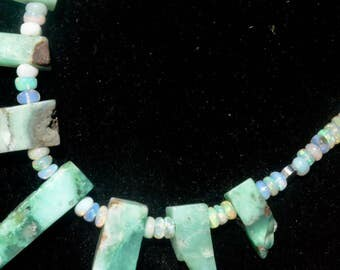 Genuine Gemstone Ethiopian Welo Opal Chrysoprase Solid Sterling Silver 925 Pendant Necklace Primitive .925 Fringe,Bullet,Rocker Bali Beads