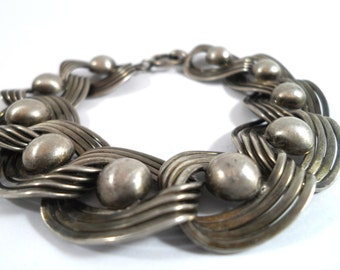 Vintage Sterling Silver Arts and Crafts  Style Bracelet Woven Oval Links 1940s Sterling Silver Modernist Design Sterling Silver Jewelry
