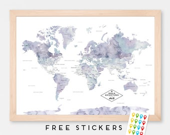 Custom World Map Poster Watercolor Marble  - Travel World Map - Stickers Included  - Gift Idea