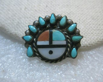 """Vintage Sterling Silver Zuni Sunface Brooch, Turquoise, Coral, MOP, 1"""" wide, 4.79 gr. 1970's,"""