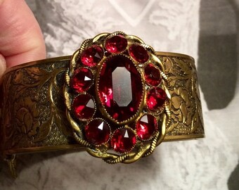 Red Victorian Bracelet Art Deco Art Nouveau Czech Hinged Cuff W West Germany