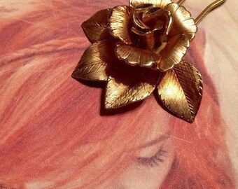Decorative Hair Pin Jewelry Unique 1950 1960 Romantic Gold Bridal Rose Hairpin (1) Winter Bridal Wedding
