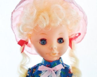 """ON SALE Vintage Hong Kong 17"""" Plastic Doll, Original Clothes And Shoes, Blonde Hair, Royal Blue Calico Dress With Pink Trim & Lace, Collecti"""