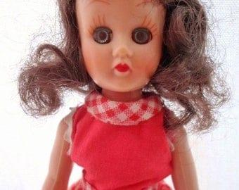 """ON SALE 1958 PMA (Plastic Molded Arts) Little Miss Joan Doll, Bent Knee Head Turning Walker, 8"""" Tall, All Hard Plastic, Blue Sleep Eyes, Joi"""