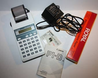 Vintage Canon Palm Printer P1-D Calculator, With Power Cord, Calculator paper, Additional Ink Roller, and Manual, Works, Excellent