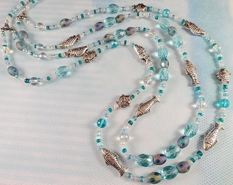 Cool Aqua Blue Shining Seas Necklace, Double Strand, Crystal Glass Beads, Antique Silver Spacer Beads, Summer Design, JewelryByPJ