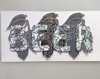 BEER cut paper blockprint