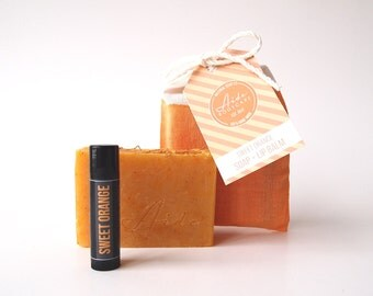 Sweet Orange Soap & Lip Balm Gift Set, All Natural Soap, Small Batch Soap, Vegan Soap