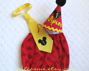 Cake Smash Outfit 1, 2, or 3 Piece Set Mickey Mouse First Birthday Outfit Diaper Cover Tie Party Hat Mickey Tie Mickey Diaper Cover Bloomers