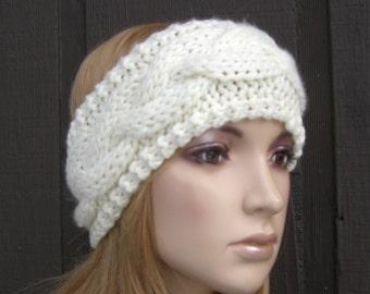 Cable Knit Headband Head Wrap Earwarmer Winter Ivory Cream Off White