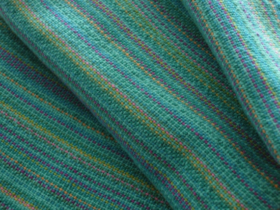 Handwoven Cotton Towel Beachcomber Blue with light Turquoise weft 100% Cotton 20 x 30 inches
