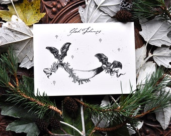 Illustrated Christmas Cards - Pack of Five Festive Gothic / Alternative Greetings Cards, 'Glad Tidings'