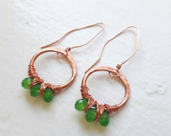 Copper Earrings with Green Cut Glass