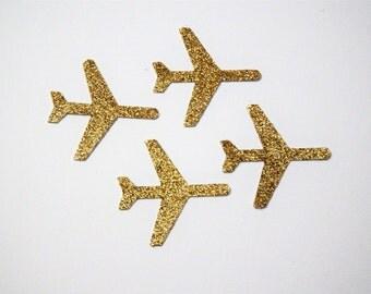 50 Gold Glitter Planes,Destination Wedding,Travel,Confetti,Map,Anniversary,Invitations