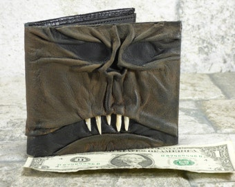 Necronomicon Evil Dead Leather Wallet Goth Black Brown Zombie Monster Face Horror Gamer Fantasy Billfold