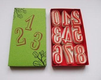rubber stamp numbers »oak« handcarved stamp set big number