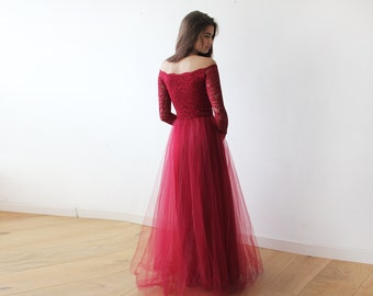 Off-The-Shoulder Burgundy Lace and Tulle gown, Lace burgundy tulle gown 1134