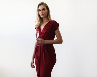 Wine red midi formal dress , Knee length Bordeaux short sleeves dress 1007