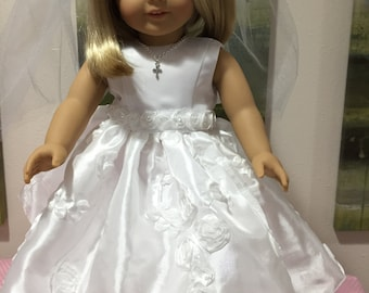 First Communion Dress for 18 inch Doll with or without white shoes