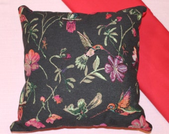 Hummingbird and flower tapestry cushion cover 45cm X 45 cm, hand made.