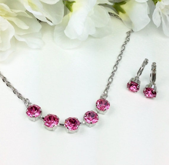 Swarovski Crystal 8.5mm Necklace & Drop Earring Set - Designer Inspired - Five Stone Necklace - Your Choice Of Crystal Color - FREE SHIPPING